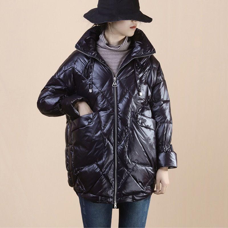 Manteau de coton pour femmes plus taille 2020 hiver nouvelle mode manches longues lumineuses épaissie 90 blanc canard down lâche veste chaude A8