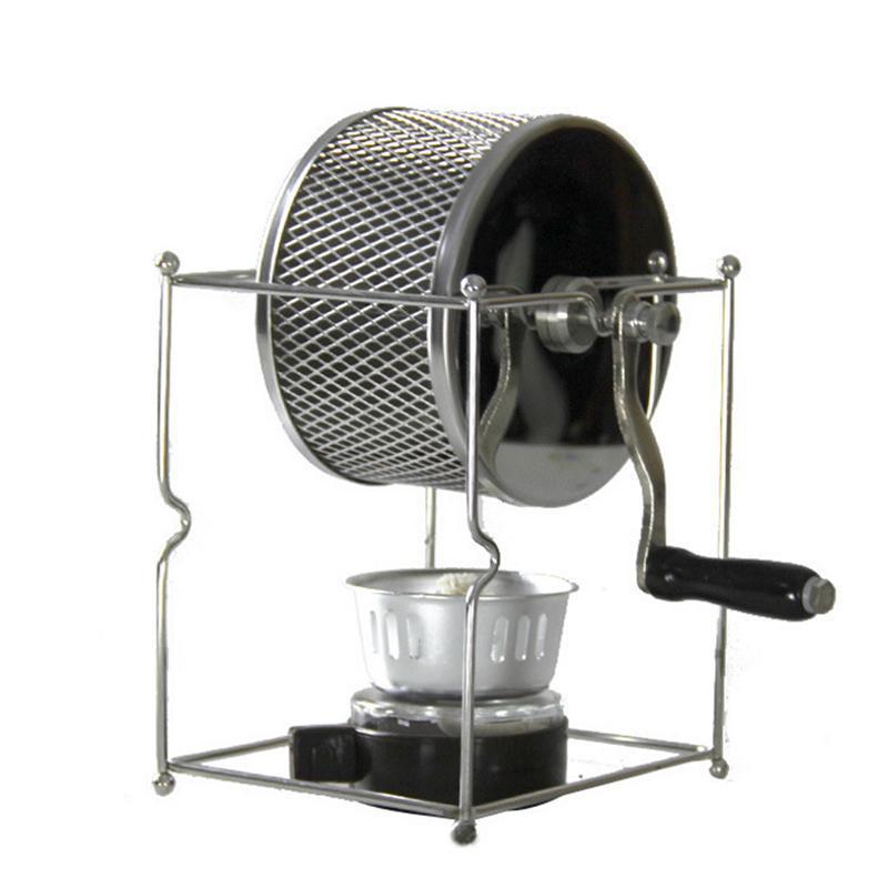 Нержавеющая сталь Кофе жаровня Ручной с ручным управлением Rotary газа Спиртовка Bean Выпечка Maker эспрессо