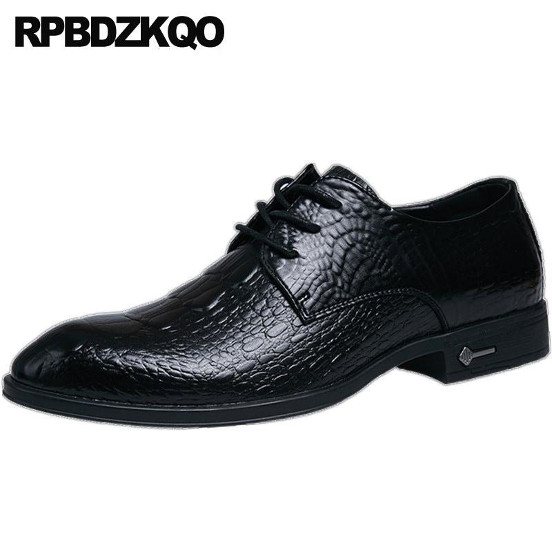 Alligator lacent ascenseur Italie peau de serpent robe de peau de serpent Oxfords Chaussures Bureau crocodile noir Hommes mariage formel