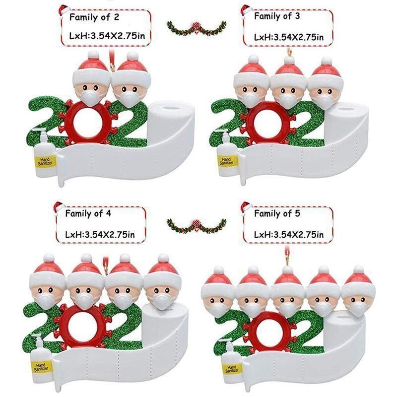 Quarantäne-Verzierung 2020 Weihnachtsbaum hängen Anhänger DIY Namen Segen Anhänger mit Hand Sanitized Ornament IIA610