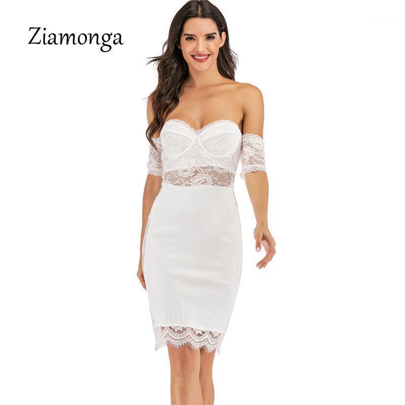 Ziamonga femmes bandage robe été sexy manches courtes dentelle dentelle robe de la piste de la piste de la piste de la piste de célébrité de célébrités