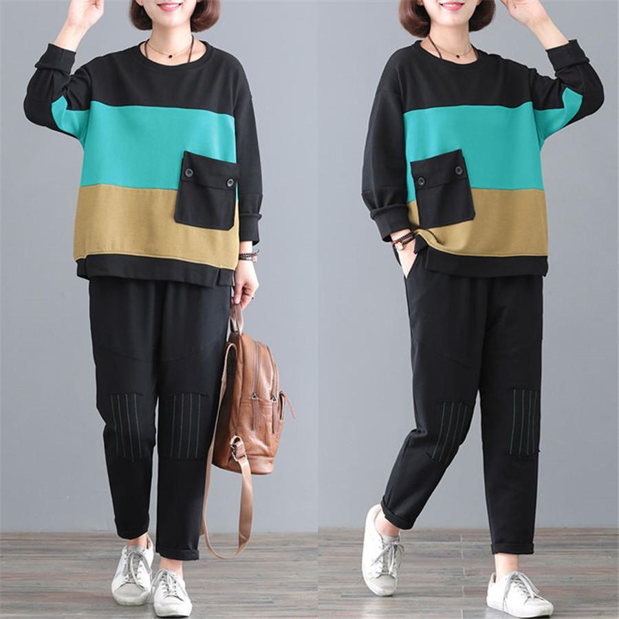 Nuova tuta 2020 pantaloni allentati autunno Grande formato delle donne per le donne erano sottili casuali di sport di modo vestito a due pezzi 5XL