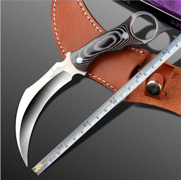 Feste Edelstahlklinge Fingerhalter Hohe Qualität Multifunktionskampieren Wanderer Outdoor Messer mit Ledertasche Männer Geschenkwerkzeug