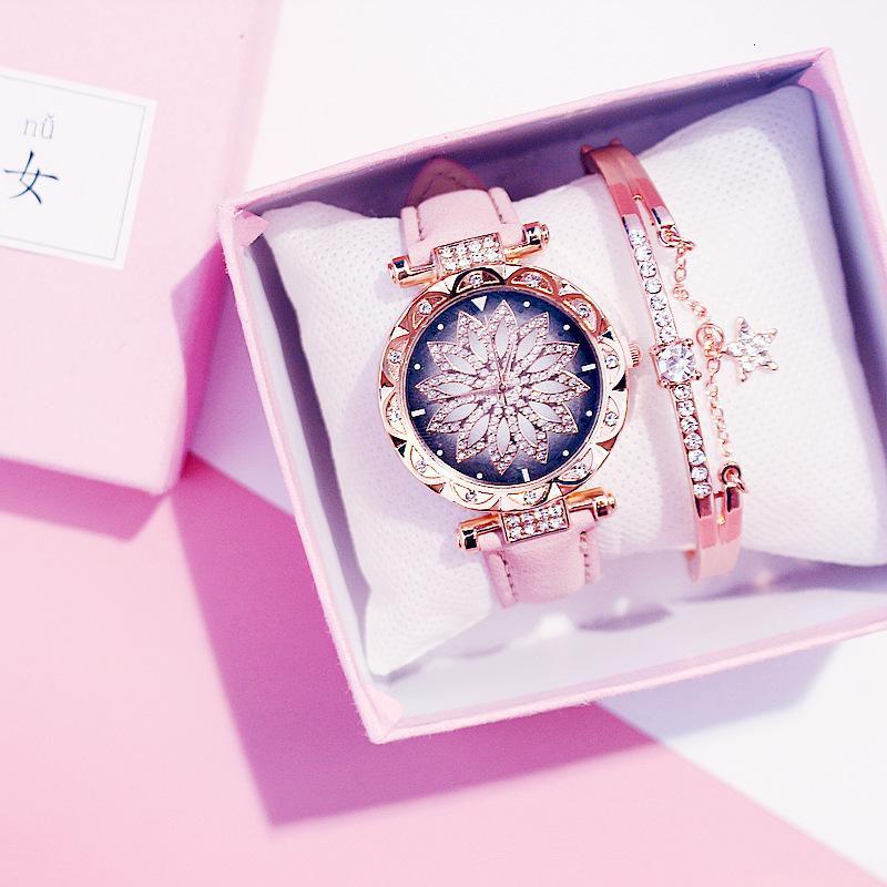 Luxuxfrauen Uhren Set Sternenhimmel Damen-Armband beiläufige Leder-Quarz-Uhr-Armbanduhr Uhr Relogio Feminino