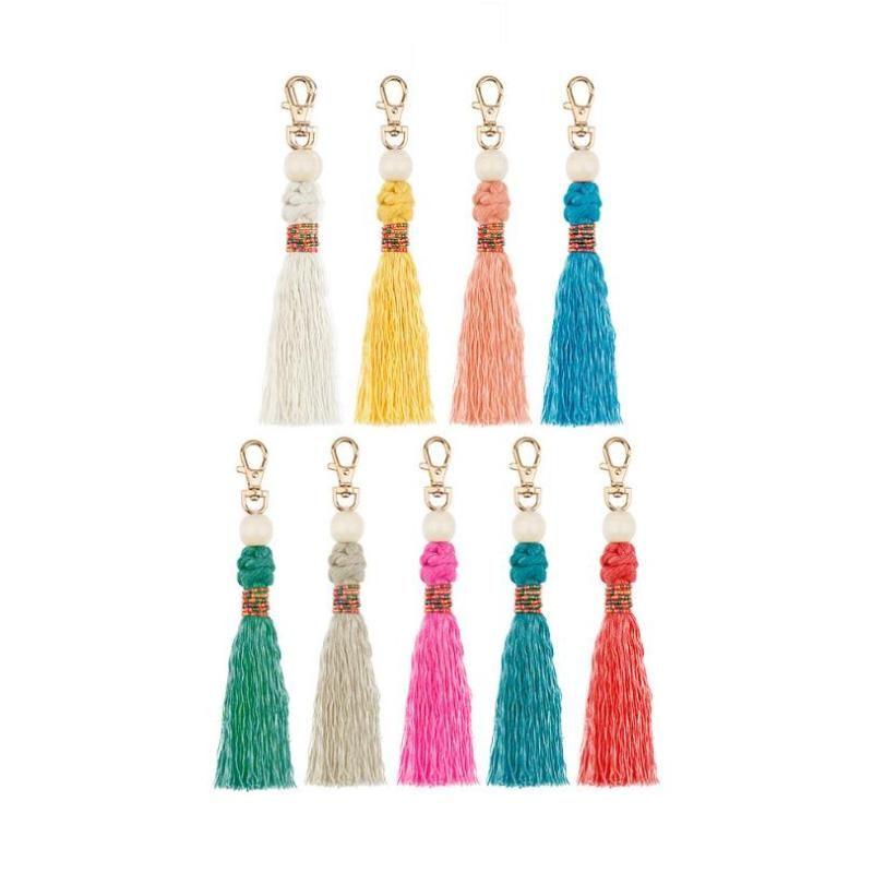 20ybollartassel portachiavi per le donne ragazza boho fatta a mano macramme corda portachiavi anello anello appeso pendente gioielli gioielli regalo