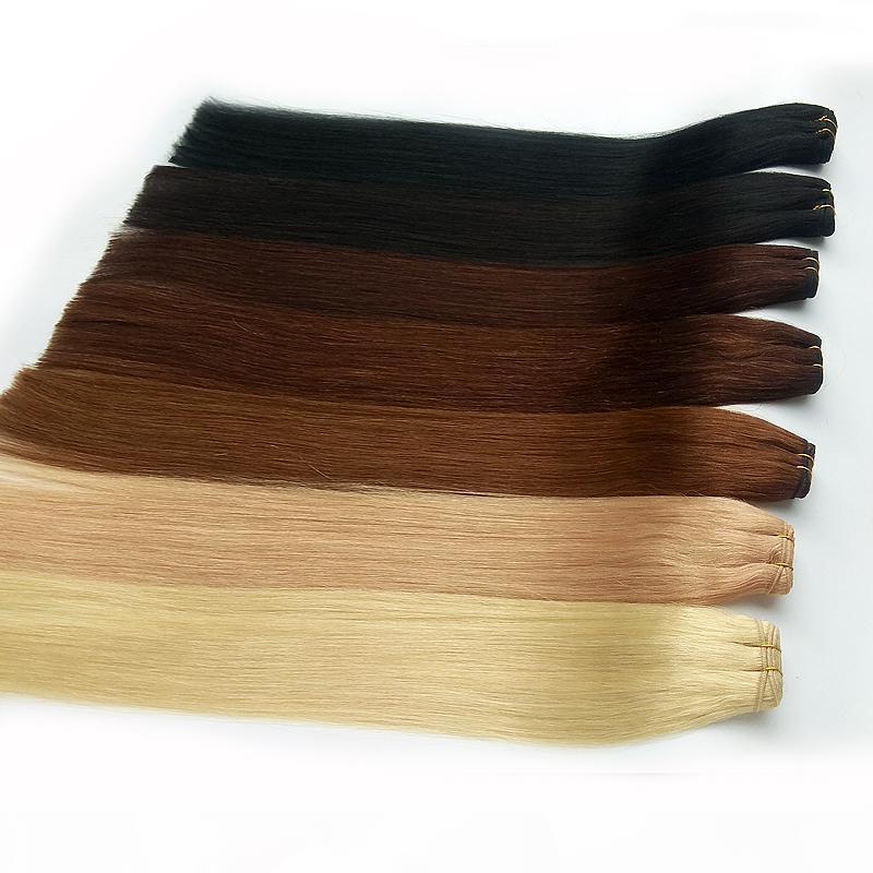 Gerade brasilianische Menschenhaar-Webart Günstige Haar-Verlängerungs-Schwarz Braun Blond Rot Blau vielen Extra-Optionen Farbe 12-26inch Fabrik-Preis 100g