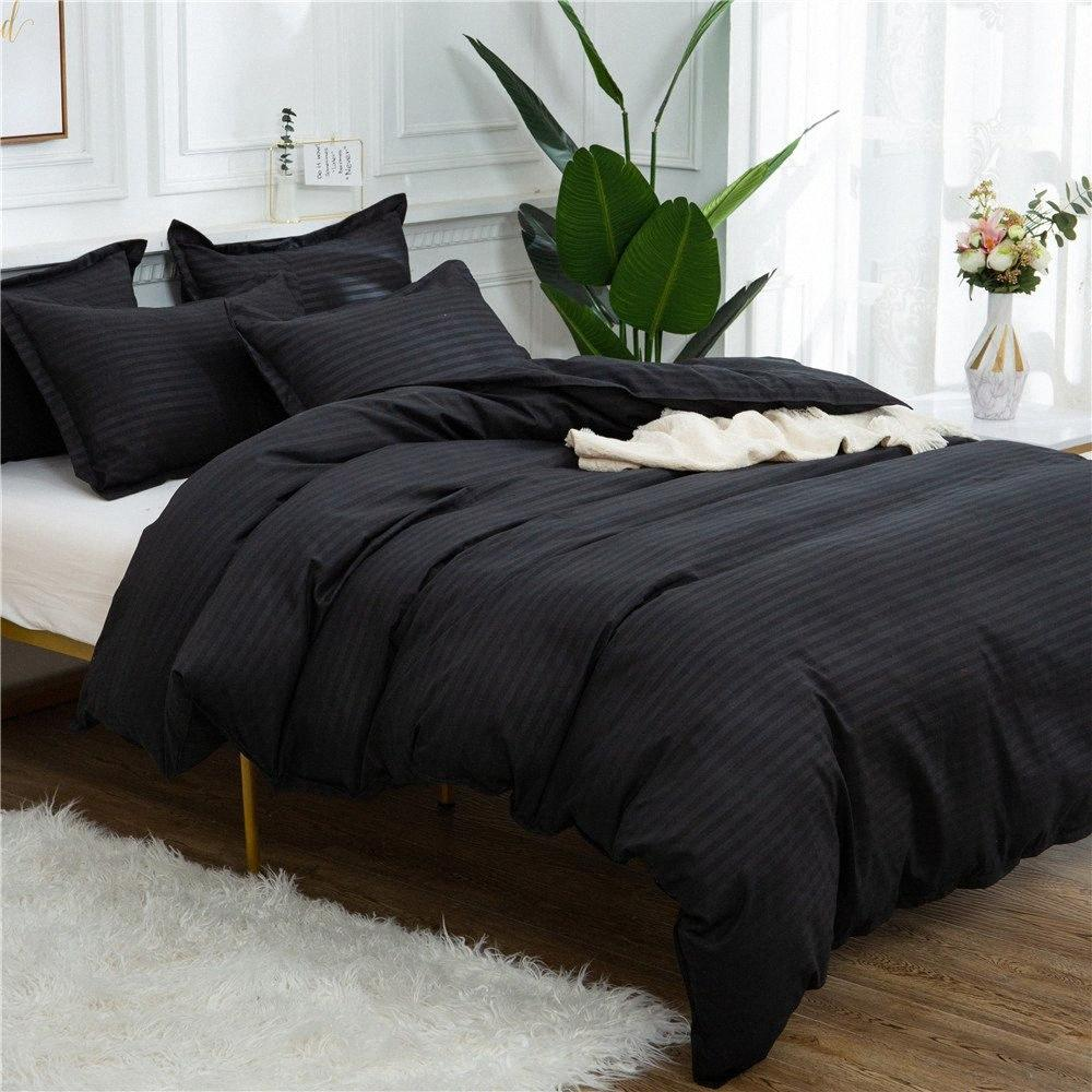 Home Textile Black Quilt Set Double Queen King Size Bedding Set Solid Color High Quality Comforter Duvet Cover Bed Bedding Luxury Comf iZXh#
