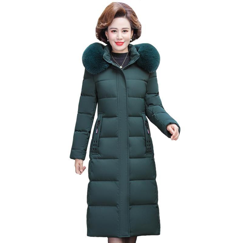 Nueva Winter X-largos de la capa de las mujeres más el tamaño 5XL de mediana edad Mujer Parkas para el collar de la madre con capucha de piel gruesa de algodón Mujer por la chaqueta