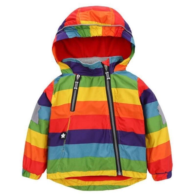 Vestes d'enfants occasionnels épais 12M-5Y Kids Kids Rainbow manteaux garçons vestes de bombardiers d'hiver bébés filles coupe-vent garçons orterprears 201126