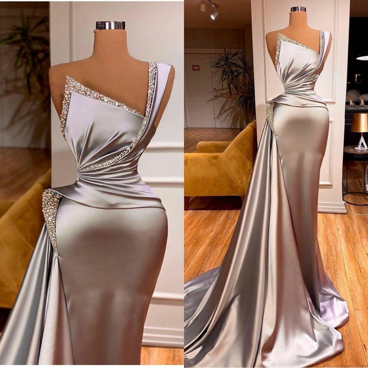 2021 Abiti da sera d'argento con cristallo raso Una spalla sirena Prom Dress Abito personalizzato Ruffles Formale Robe de Soirée