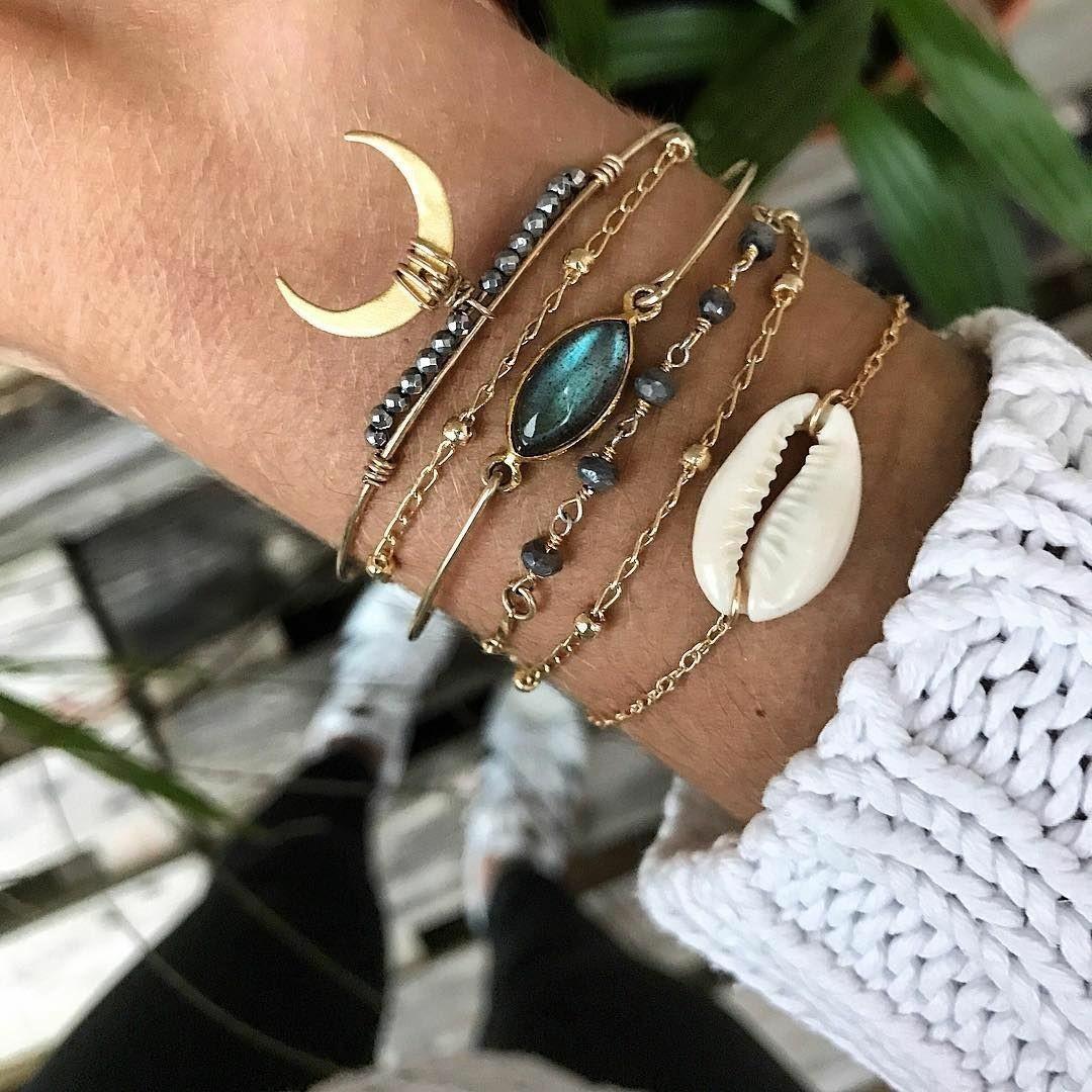 Joyería simple cristal de la luna azul de cristal pulsera de la personalidad cáscara seis piezas conjunto de la pulsera de las mujeres NnMHO