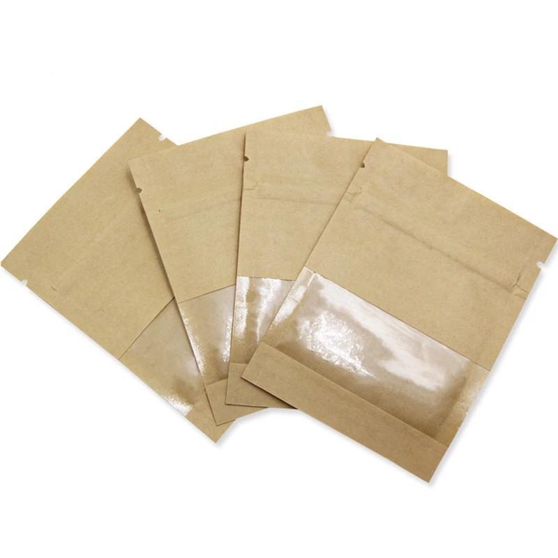 100pcs / lot 갈색 흰색 크래프트 지퍼 패키지 가방 음식 커피 차 저장을위한 창으로 증거 주머니