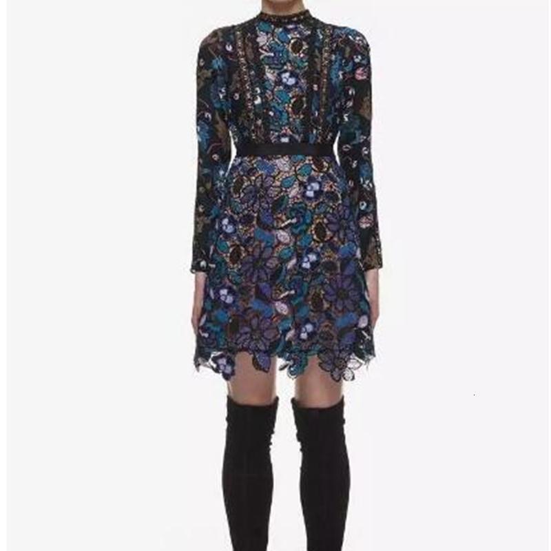 Blumenspitze lange Hülsen-Minikleider Damenmode hohe Ansatz Partei-Kleid Womens Designer dünner reizvolle Kleider Herbst Frühling