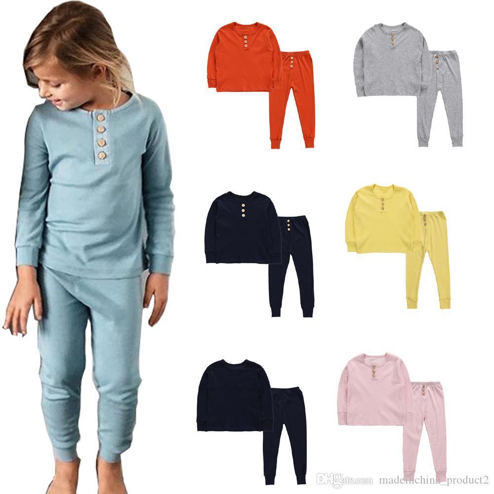 Детские пижамы Детские девочек Одежда Мальчик Твердая Sleepsuit с длинным рукавом Брюки Нижнее белье девушки Ночное Одежда Комплекты 5colors