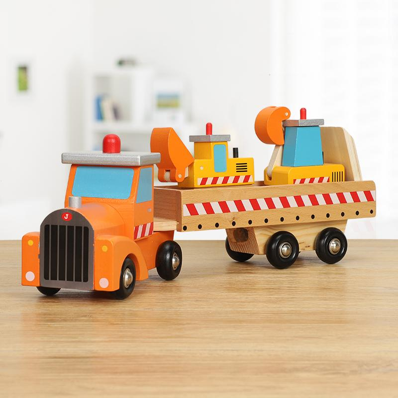 Hayvan Çocuk Ulaştırma Mühendisliği Araç Büyük Kamyon Bilişsel Ahşap Model Taksi Oyuncak Araba