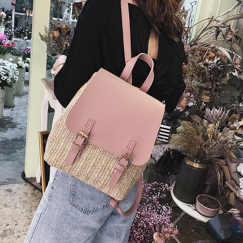 случайные соломы рюкзаков для женщин Плетеные тканый мешок школы tenage девушки ротанг лето пляж ранцевый дорожные сумки женская сумка 2020 C1017