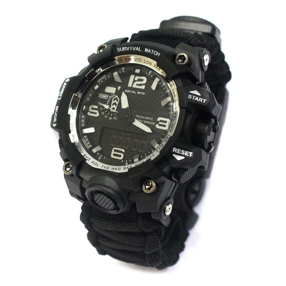 Multi funcional funciona deportes de moda de moda de moda Dual Movimiento de hombre Termómetro impermeable Termómetro Flint Watch