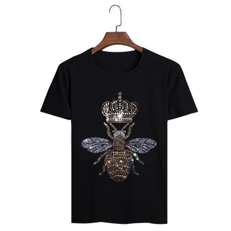 2020 homens de verão preto t-shirt hip hop homem homem coroa caveira cranio diamante camisetas moda strass homem t-shirt lj200827