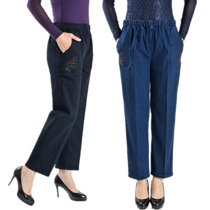 del Medioevo Donne Jeans dritti Primavera Autunno ricamo di alta elastico Madre della vita casuali pantaloni in denim si slaccia più r1623