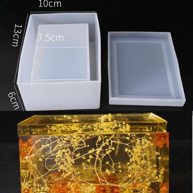 New Transparent Silicone Mould Dried Flower Resin Decorative Craft DIY Storage tissue box Mold epoxy molds for jewelry Q1106