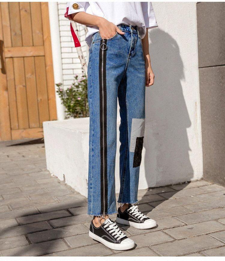 2019 Pantalon-longueur cheville Mode Automne Printemps Denim Patchwork Fermeture à glissière épissé taille haute Pantalons Jeans High Street Femmes R74Z n
