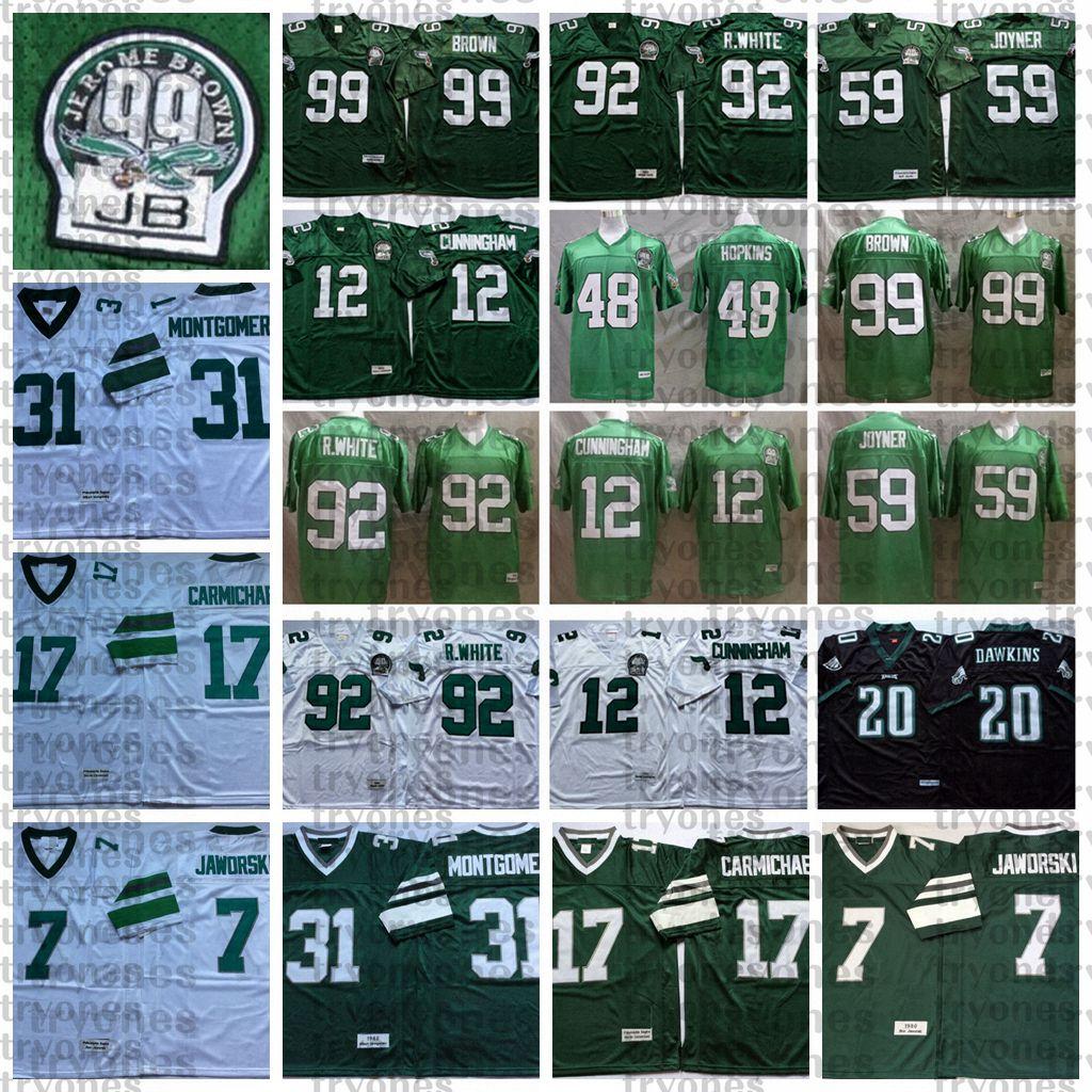 NCAA Vintage Mens 12 Randall Cunningham Seth Joyner Reggie White Jerome Brown Brian Dawkins Wes Hopkins Jaworski Carmichael Jersey de fútbol