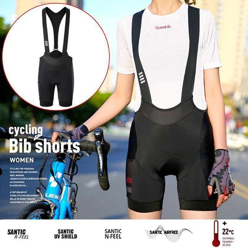 Santic novo mulheres ciclismo bib shorts à prova de choque à prova de choque calças justas bicicleta bibs shorts respirável estrada seca rápida bicicleta curto calças curtas1