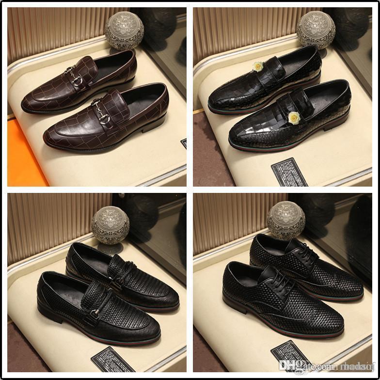 61 Роскошный бизнес Оксфорд Кожаные Обувь Мужчины Дышащие резиновые Официальные Обувь Мужской Офис Свадебные Квартиры Обувь Mocassin Homme 33