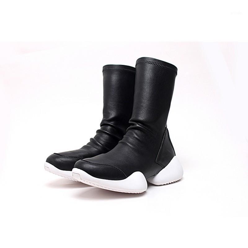 Stivali da uomo Scarpe da uomo Mid-Calf Flock Flock Formatori di lusso Guida invernale Casual Sneakers Lovers Flats Black Plus Size 45 Boots1
