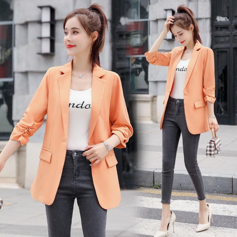 Abiti da donna Blazer 2021 Primavera Autunno Donne Slim Solid Suit Giacca Femmina Fashion Causal Manica lunga Stili coreani Cappotto Q125