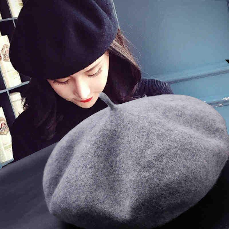 Berets wysokiej jakości wełna beret kapelusz dla kobiet zimowe kapelusze koreańskie wersja solidna czapki wiosna jesień artysta czapka na zewnątrz malarz