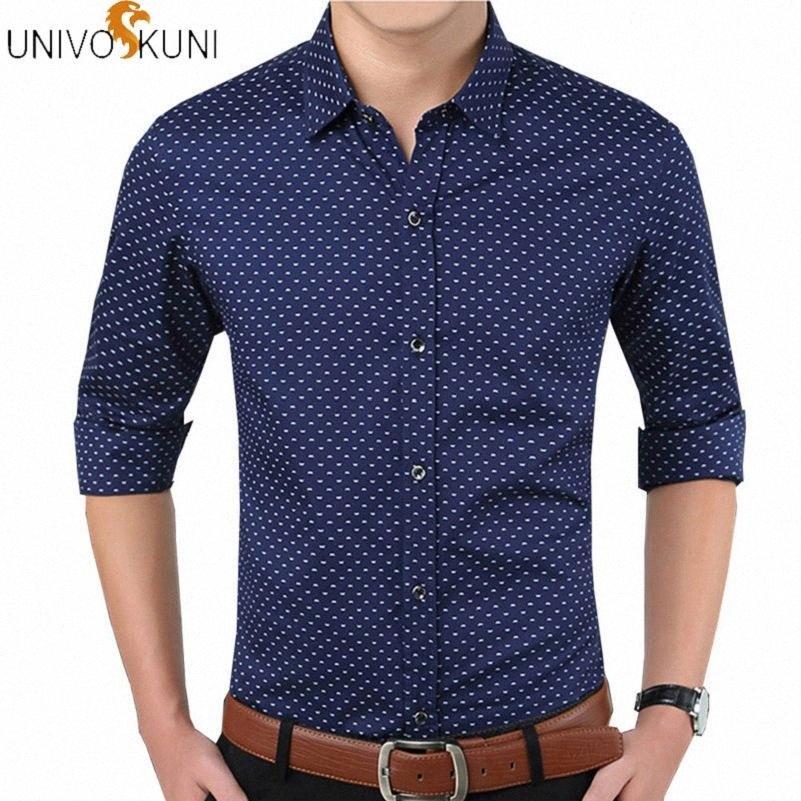 UNIVOS куни Мужская рубашка Camiseta сорочка Camisas Весна Slim Fit Мода длинным рукавом Мужские рубашки платья Мужчина Англия Q5138 bX4N #