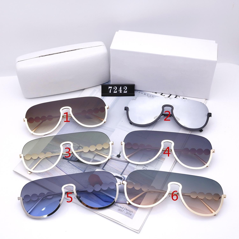 Moda Kadın Güneş Gözlüğü Tasarımcılar Lüks Yüksek Kalite HD Polarize Lensler Büyük Kutu Yarım Çerçeve Bayanlar Sürüş Gözlükleri 7242