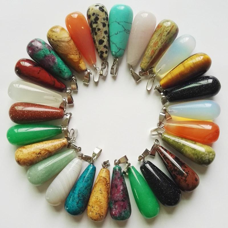 الحجر الطبيعي المعلقات النساء الرجال اللون خلط قطرات طويلة قلادة مجوهرات سحر ل diy مجوهرات صنع الملحقات 1 4CX K2B