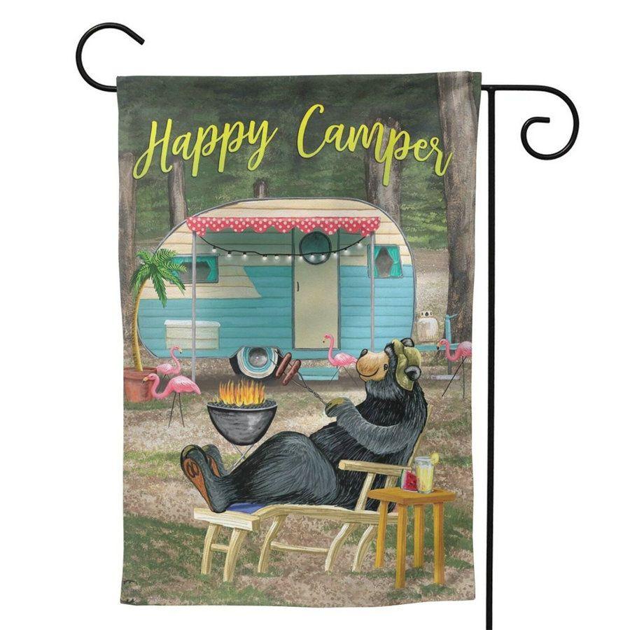"""سعيد العربة الدب حديقة العلم في الهواء الطلق 12.5 """"× 18"""" أعلام الصغيرة عطلة يارد - على الوجهين تصميم لجميع الفصول والأعياد"""