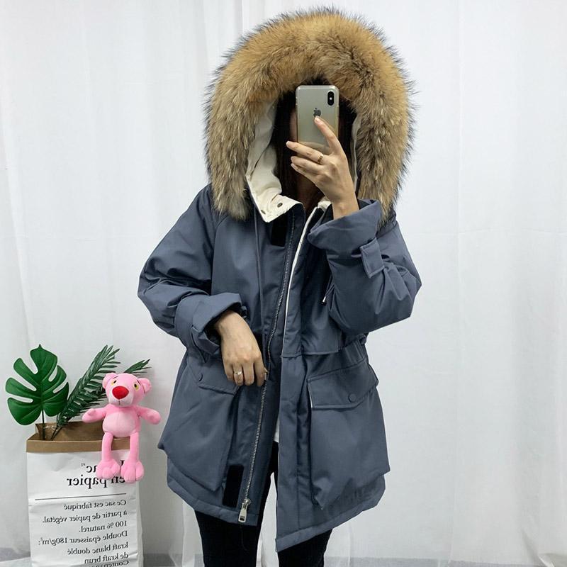 FTLZZ New Real encapuchada de la piel del invierno de las mujeres de pato blanco abajo chaqueta gruesa capa de nieve Parkas caliente de la capa impermeable Abajo Abrigo