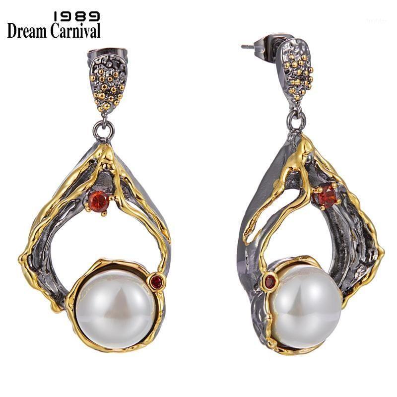 Dangle Chandelier DreamCarnival1989 grandes brincos exagerados para mulheres barroco pérola jóias festa de noivado 2021 venda especial we40031
