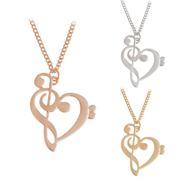 Collares Música Nota Corazón de Treble y Bass Clef Collar Mujer Joyería Infinito Charm Heart Colgante Collar PS0806