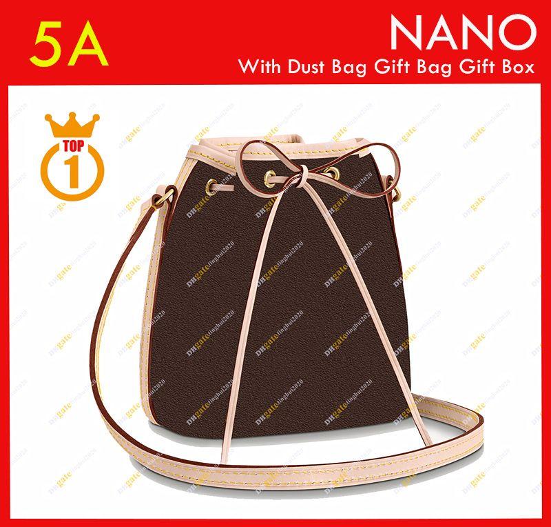السيدات مصمم أزياء عارضة جودة عالية دلو حقيبة نانو نو نوي مصغرة 16 سنتيمتر M41346 براون زهرة الكتف حقيبة / متوفر شحن مجاني مجانا shipp مجانا