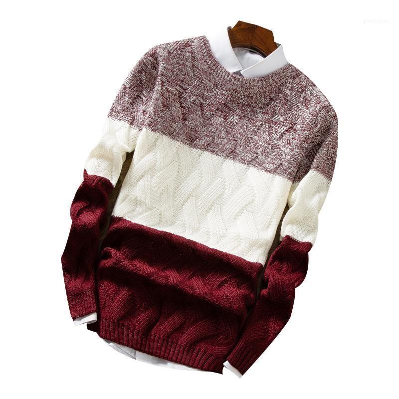 Hombres O-cuello PULOOVEOVER CALIENTE otoño invierno remiendo cómodo Slim Fit No Ropa de YQ Punto Casual Suéter Masculino Drop Swellphoth1