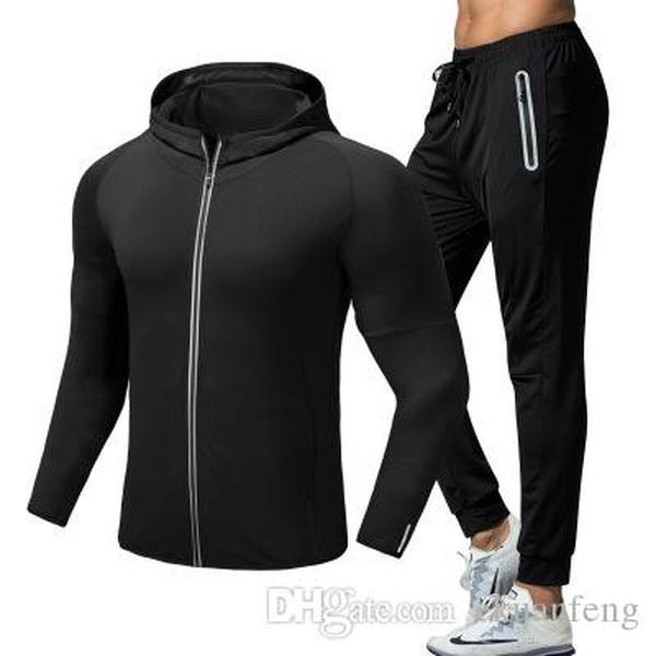 Uomini Tuta insieme casuale di sport dei pantaloni dei pantaloni + sottile ad asciugatura rapida allenamento giacca con cappuccio Sportwear Tute manica lunga idoneità S-XXL