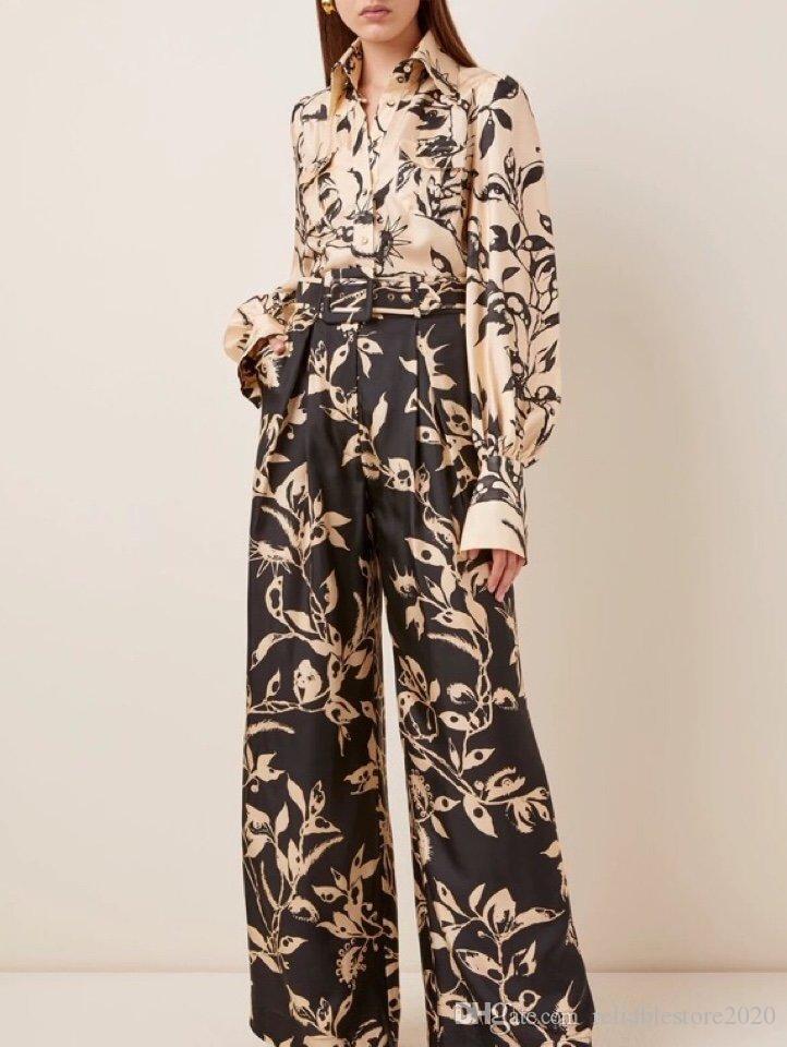 2020 Herbst neue Art und Weise Damen Seidenschals gebunden mit langen Ärmeln unregelmäßiges Shirt + hohen Taille breit Bein Hosenanzug für Frauen gedruckt