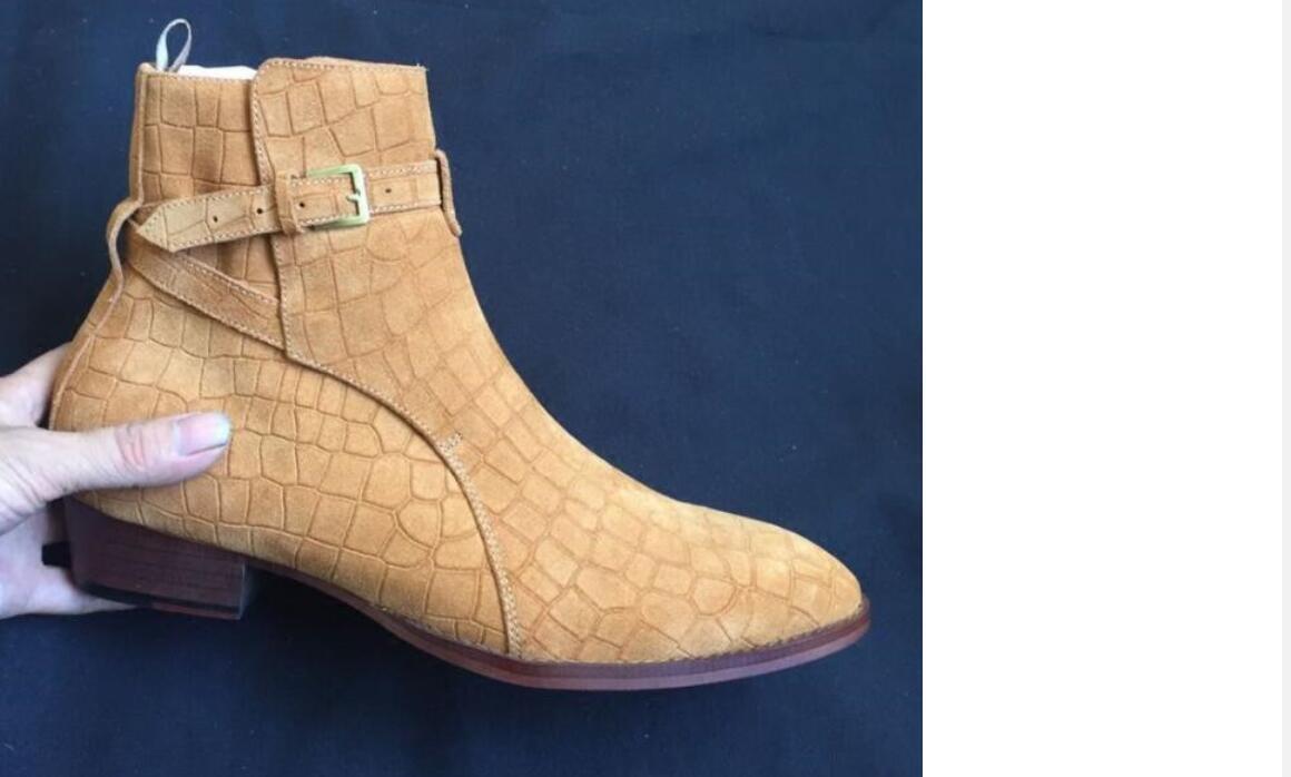 Neuer Stil Stein Druck Ankle Boots aus Leder Fashion male Stiefel Ankle Boots Herrenmode Frühling Herbst Stiefel