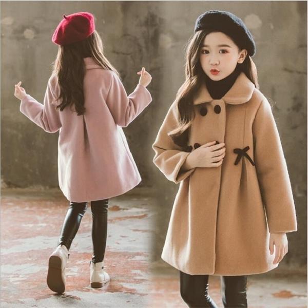 Chicas otoño abrigo de invierno 2020 nuevos niños medianos y grandes abrigos de lana de doble cara, abrigo de lana espesado de niños 0930