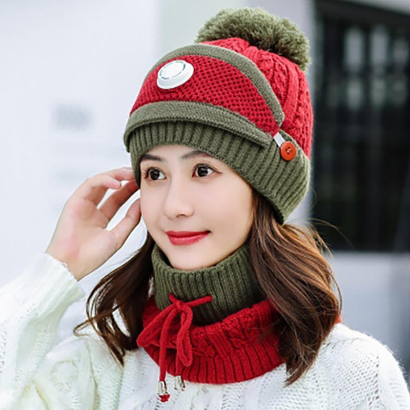 Chapéu de Chapéu de Chapéu de Malha Feminina Caps Neck mais quente de inverno para senhoras meninas quentes bonés de lã