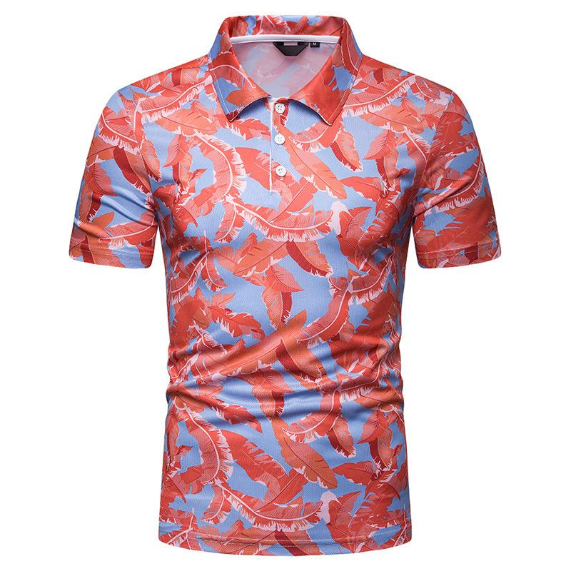 2021 New Summer Mens Designer Polos Short Sleeve Print Beach Style Tshirt Fashion Casual Male Clothing