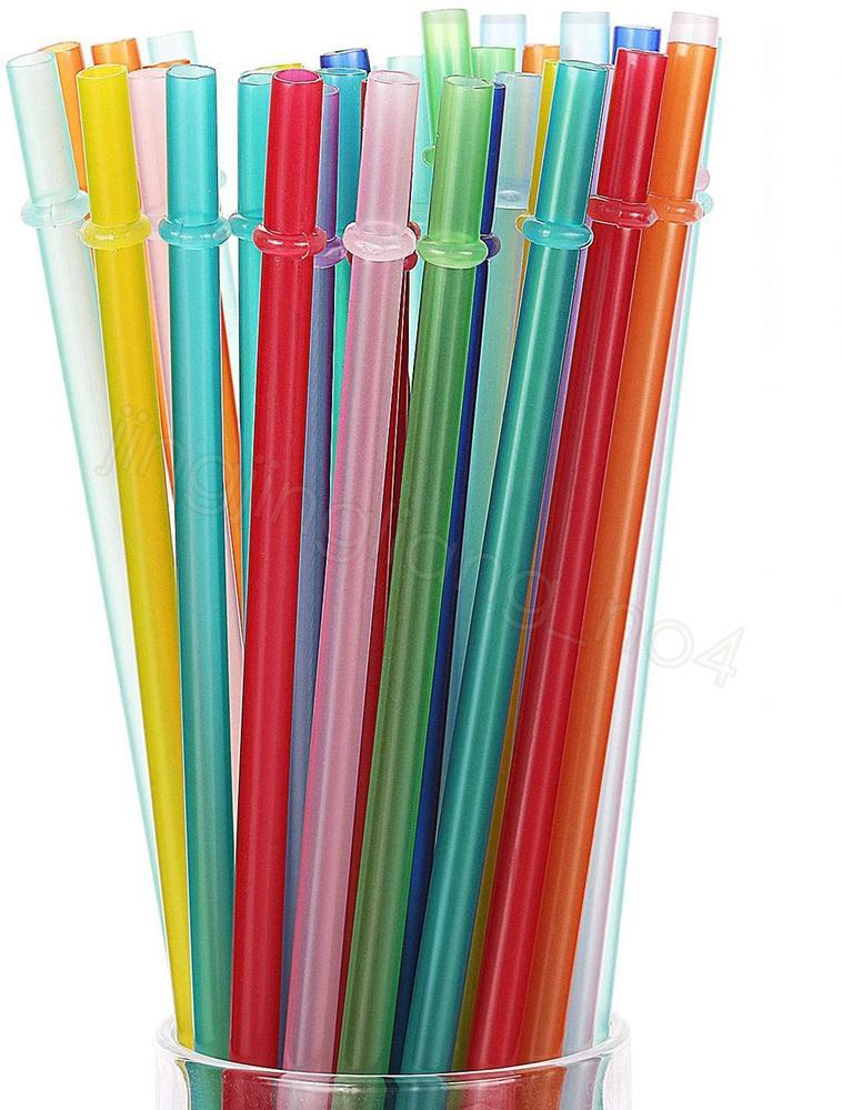 24CM PP القش بلاستيكية ملونة قابلة لإعادة الاستخدام شريط شرب عصير كوب حزب ديكور المنزل الشرب القش CYF4479-2