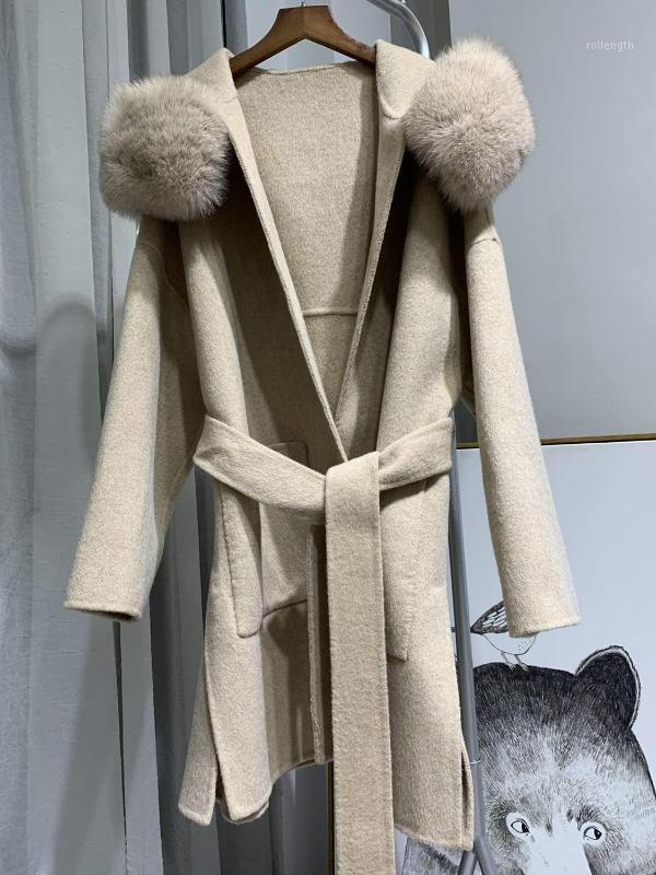 Kadın Kürk Faux Lavelache 2021 Gerçek Ceket Kış Ceket Kadın Gevşek Doğal Yaka Kaşmir Yün Karışımları Giyim Streetwear Boy1