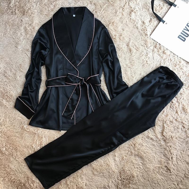 Daeyard Высококачественные шелковые атласные женщины Pajama набор с длинным рукавом халат и брюки женский осенний халат костюм элегантные спящие одеяние дома дома 201027