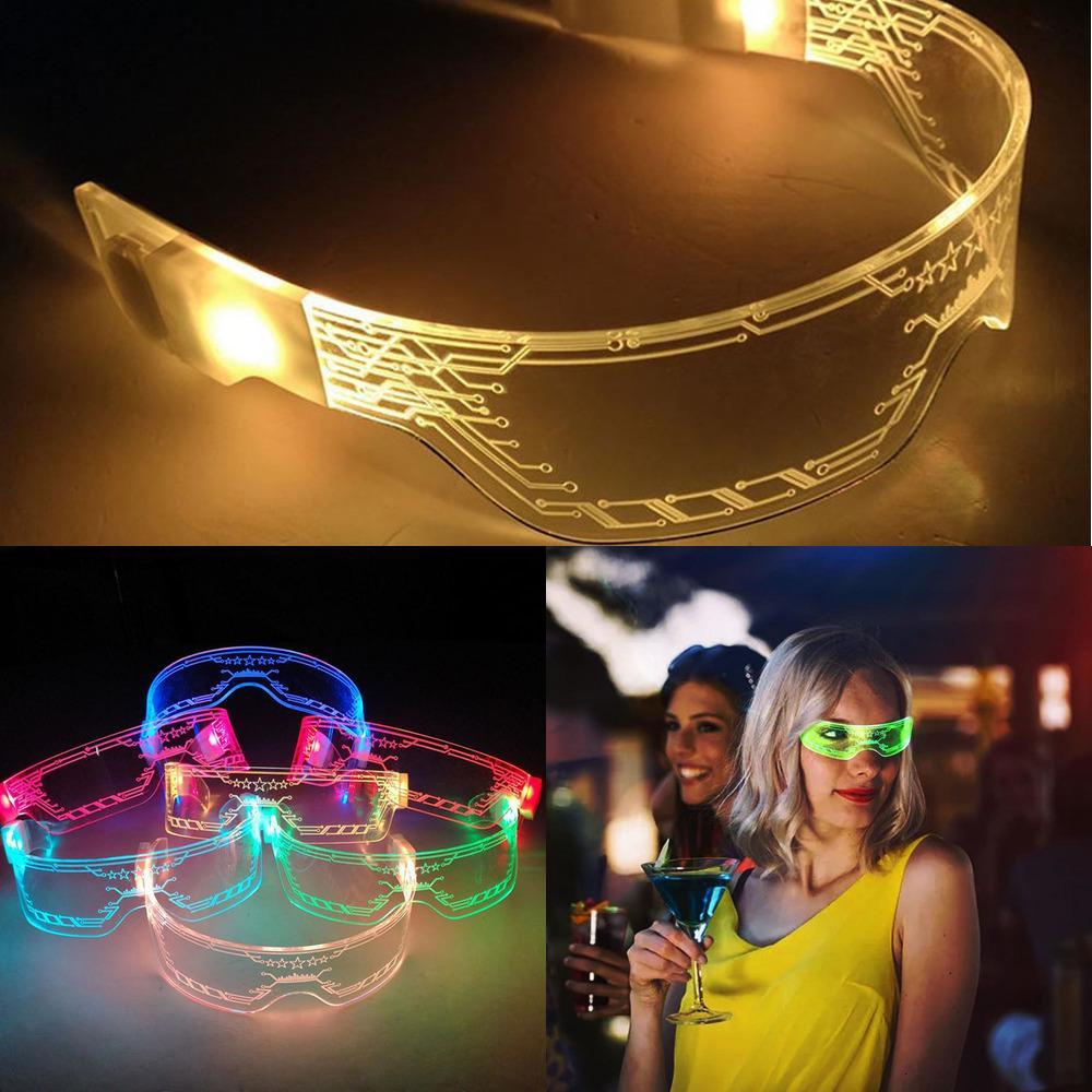 Hot 2020 Estilo Acrílico luminosos óculos futurista tecnologia surpreendente Goggles Role-playing Built-in 2 CR2032 Baterias KDU1